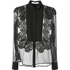 Givenchy Black Silk And Lace Transparent Black Top