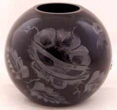 Fenton-Black-Rose-Bowl-Hand-Painted-Rose-Signed-M-Wagner