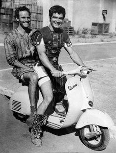 Charleton Heston & Stephen Boyd on set of Ben Hur, 1959   Haha, this is great!