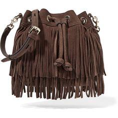 Rebecca Minkoff Mini Fiona fringed suede shoulder bag (555 RON) ❤ liked on Polyvore featuring bags, handbags, shoulder bags, purses, bolsas, carteras, dark brown, brown suede handbag, man bag and suede fringe purse