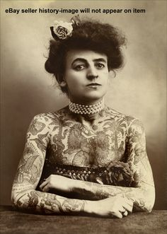 1911 TATTOOED TATTOO VICTORIAN WOMAN UNUSUAL PHOTO