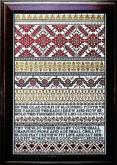 """Behold My Work"" is the title of the extraordinary cross stitch pattern from Examplars from the Heart.  The sampler is stitched with DMC (Black, 680 and 816) or Gloriana Florimell (Antique Black, Inca Gold and Schoolhouse Red)."