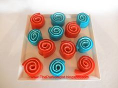 Jello roll-ups  7/10  These have a different texture, but kids love them. You can make them in any flavour/colour, so they are a fun treat for a children's birthday party.