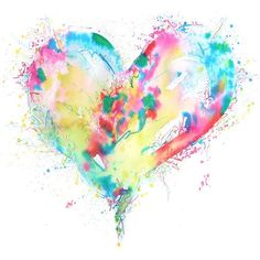 watercolor heart tattoo ~luv it Watercolor Heart Tattoos, Watercolor Art Paintings, Watercolor Cards, Watercolours, Aquarell Tattoos, Heart Painting, Heart Art, Tattoo Images, Small Tattoos