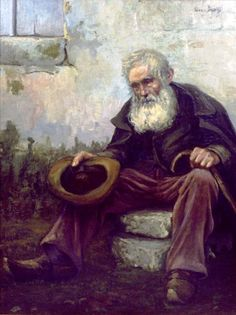 The Old Beggar 1916 by Louis Dewis 1872 - 1946 his real name Isidore Louis Dewachter Post-Impressionist painter Belgian Homeless Man, Poor Children, Impressionist, Post Impressionism, Word Of God, Gods Love, Free Food, Mystic, Reflection