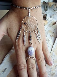 Purple Bohemian Dreamcatcher Slave Bracelet Boho Hippie Stone Tribal Gypsy Silver Purple Twilight Dream Catcher Native American Inspired. $24.99, via Etsy.