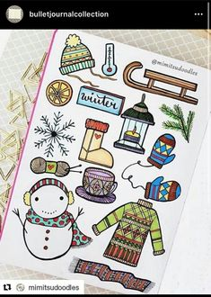 40 bullet journal winter doodle ideas you can use to spruce up your spreads, planners, trackers, and collections in your bullet journal. Doodle Bullet Journal, Bullet Journal Hacks, Bullet Journal Spread, Bullet Journal Layout, Bullet Journal Inspiration, Bullet Journals, Bullet Journal Christmas, Bujo Doodles, Christmas Doodles