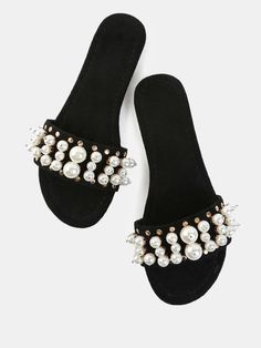 3551e3bca Online shopping for Open Toe Faux Pearl Slide Sandals BLACK from a great  selection of women s