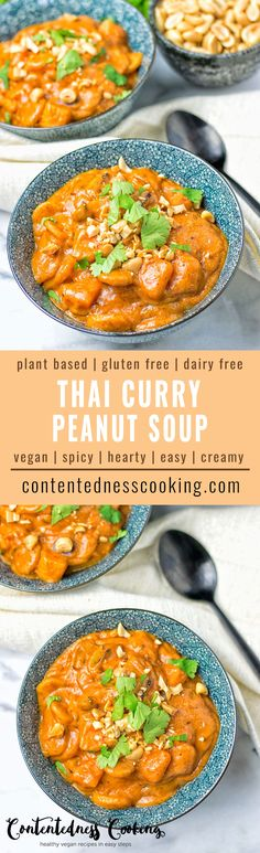This Thai Curry Peanut Soup is seriously the easiest meal ever. Just use your leftover veggies from the fridge, combine them with creamy peanut butter and enjoy. Makes an amazing vegan and gluten free lunch, dinner or something in between. #vegan #glutenfree #dairyfree #plantbased