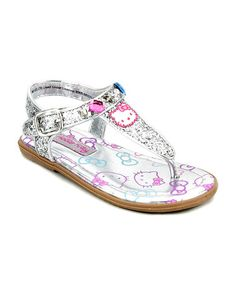 Look what I found on #zulily! Silver Hello Kitty Shimmer Sandal by Hello Kitty #zulilyfinds