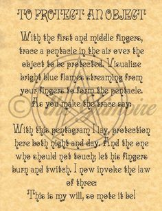 To Protect an Object, BOS Page, Book of Shadows Pages, Real Witchcraft Spells in Collectibles, Religion & Spirituality, Wicca & Paganism   eBay