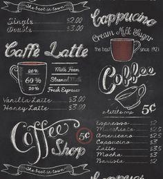 Chalk art menu boards - new art Chalkboard Wallpaper, Sf Wallpaper, Washable Wallpaper, Chalkboard Art, Chalkboard Designs, Coffee Shop Menu, Menu Boards, Shops, Good Day Song