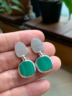 Malachite earrings set in Sterling Silver with subtle texture, mat & bright finish. Made for pierced ears. Gemstone Colors, Gemstone Rings, Fine Jewelry, Jewellery, Subtle Textures, Jewelry Branding, Luxury Jewelry, Malachite, Ear Piercings