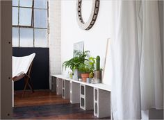 Emma Robertson Oakland studio with plants, Inexpensive creative sloutions
