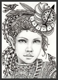 Zentangle & Doodling / Зентангл и Дудлинг Fairy Tangles Adult Coloring Pages, Coloring Book Pages, Steampunk Fairy, Steampunk Coffee, Tangle Art, Sword And Sorcery, Colorful Pictures, Doodle Art, Fantasy Art