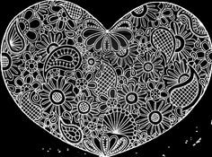 Heart Zentangle Doodle Drawing by Kathy Ahrens
