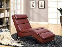 Leather Look Chaise Lounger In Red - Homeclick Community