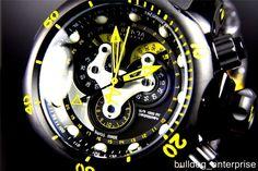 Mens Invicta Reserve Venom Swiss Master Calendar Black Yellow Watch New 14459 #Invicta #LuxurySportStyles