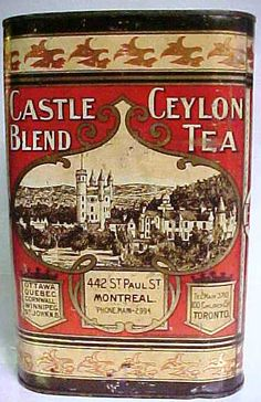 "CASTLE BLEND CEYLON TEA TIN. Circa 1900. Tin made by the Tos. Davidson Mfg. Co. Limited Montreal. Harder to find version of this tin. Measures 10"" in height X 6 3/4"" X 6 3/4""."