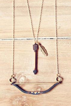 Bow and Arrow Tribal Feather Necklace layered by StrangelyYours