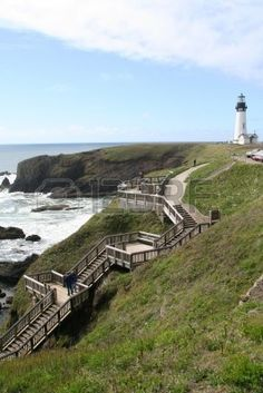 Wooden stairs to beach, misty day, Yaquina Head Lighthouse, Agate Beach, Newport, Oregon coast