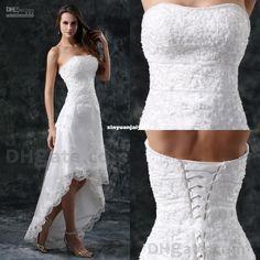 Wholesale Wholesale - Buy - 2014 Wedding Dresses Lace A Line Hi Low Strapless Applique Elegant Grace W284, $97.11 | DHgate