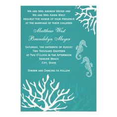 Teal Turqouise Sea Coral Seahorse Wedding Invitations.  Perfect for a beach theme, ocean, seaside, coastal or destination wedding.