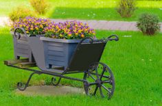 Wrought iron wheel barrow planter with two plastic planters holding flowers situated in large grass area.