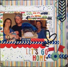 Baby going home scrapbook page