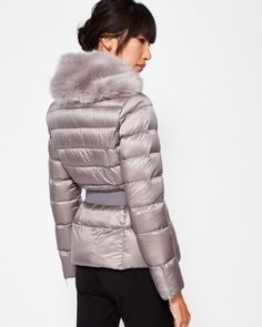 Faux fur collar quilted jacket - Light Grey | Jackets and Coats | Ted Baker UK