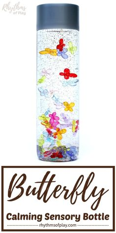 DIY Butterfly Sensory Bottle Calm Down Jar Both children and adults will love this butterfly sensory bottle. Calm down bottles or jars like this are most often used to help soothe an overwhelmed child and as a meditation technique for kids. Calm Down Jar, Calm Down Bottle, Diy Locker, Diy Wood Wall, Diy Blanket Ladder, Diy Butterfly, Martha Stewart Crafts, Sensory Bottles, Diy Headboards