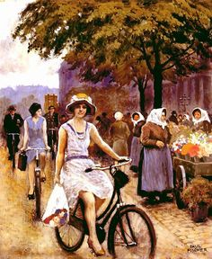 Bicycling Girl - Paul-Gustave Fischer - 22 July 1860, Copenhagen – 1 May 1934 Gentofte) Danish painter.