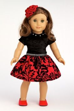 Holiday Spirit - Holiday red taffeta party dress with red shoes - American Girl Doll Clothes  Price : $25.97 http://www.dreamworldcollections.com/Holiday-Spirit-taffeta-American-Clothes/dp/B005NXORBW