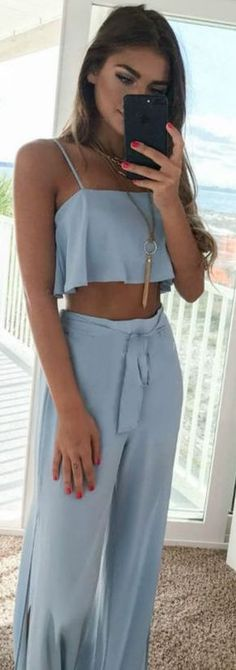 #summer #outfits / Baby Blue Two Piece Jumpsuit