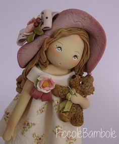 PiccoleBambole - Bambola in porcellana fredda - porcelana fria - cold porcelain - rose -bear