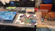 It is official @bookguy7 has the coolest kitchen. <3 #mcm #mcm #love #livingwithanartist #art #artist #artistoftheday #kitchen #homedecor #whatwedidlastnight #paint #pic