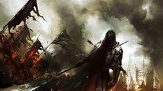 Medieval Knights Wallpaper   ... dark warrior knight battle weapons army fire art wallpaper background