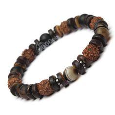 Exclusivité 1000ola Magnifique Bracelet pour Homme/Femme de haute qualité fait main. Ce bracelet est réalisé avec perles en pierre naturelle Agate couleur marron, perles en bois les graines Rudraksha Ø 9mm également appelées « graines de Shiva » de l'arbre d'Elaeocarpus ganitrus, perles en Bois Naturelles Cocotier/Coco Ø 8mm, perles en pierre naturelle hématite 4mm et fil élastique. Pour connaitre votre taille : mesurer votre tour de poignet et ajouter 0,5cm- 2 cm (selon votre confo...