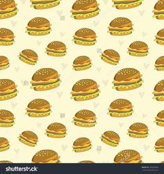 Seamless pattern with cute hamburgers. Used for wallpaper, pattern fills, web page background,surface textures.