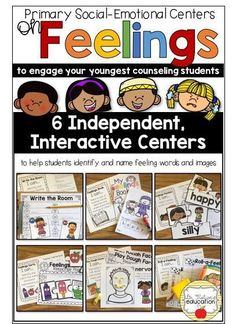 6 interactive, independent social-emotional counseling centers for Pre-K, Kindergarten, and 1st Graders to explore, identify, and discuss feelings, emotions, and expressions Feelings Activities, Counseling Activities, Elementary School Counselor, School Counseling, Feelings Words, Feelings And Emotions, Guidance Lessons, Social Emotional Learning, Teaching Materials