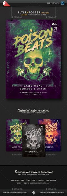 Poison Beats - Party Poster / Flyer Template A3  — PSD Template #techno #session • Download ➝ https://graphicriver.net/item/poison-beats-party-poster-flyer-template-a3/18089507?ref=pxcr