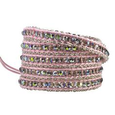 KELITCH-Clear-Crystal-Beaded-Chain-5-Wrap-Bracelet-On-Pink-Leather-Women-Jewelry