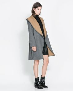 Image 1 of HOODED WOOL COAT from Zara