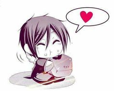 One of Grell's Bassy dolls escaped, and is enjoying a sweet treat.