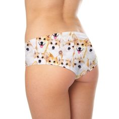 Corgi Invasion Booty Shorts  Did someone say walkies?? We hope you've got a treat for all these adorable corgis, because otherwise this invasion could get a little crazy with puppy kisses.    It's no secret everyone's obsessed with butts (and we're no different). Now you can show off your emmm... Shelfies design whenever and wherever you please: to bed, at the gym, or even while you chill at your favourite cafe. Corgis, Mini Shorts, Summer Collection, Polyester Spandex, Kisses, Chill, Casual Shorts, Gym Shorts Womens, Booty