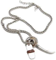 Guess Mens Leather Wrapped Tag And Rings Necklace, (mens jewelry)