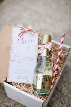 client gift ... Champagne, striped straws... Cassandre Snyder Events...#clientgift #champagne #stripedstraws