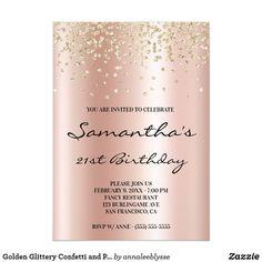Golden Glittery Confetti and Pastel Rose Gold Foil Invitation First Birthday Invitations, Custom Invitations, Party Invitations, Invitation Ideas, Rose Gold Foil, Rose Gold Glitter, Pastel Roses, Paper Design, White Envelopes