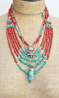 Bohemian Stunning Nepalese handmade bib necklace with Red corals and Turquoise beads/ Ethnic/Authentic/Bohemian necklace/OOAK By Inali