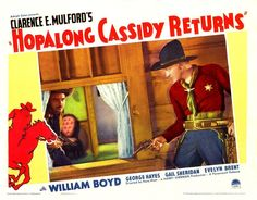 WILLIAM BOYD with gun * HOPALONG CASSIDY RETURNS * 11x14 LC print 1936